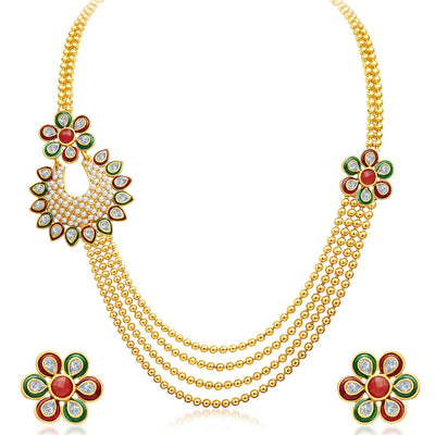 Sukkhi Bewitching Four Strings Gold Plated Necklace Set-1