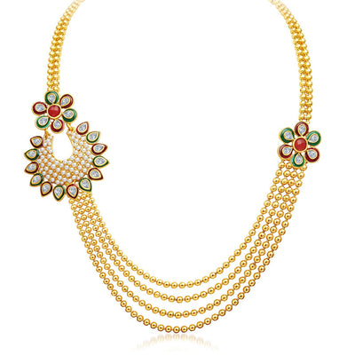 Sukkhi Bewitching Four Strings Gold Plated Necklace Set-3