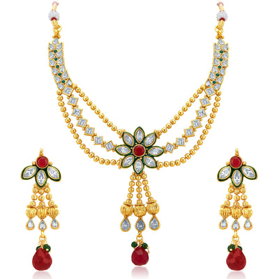 Sukkhi Appealing Three Strings Gold Plated AD Necklace Set-1