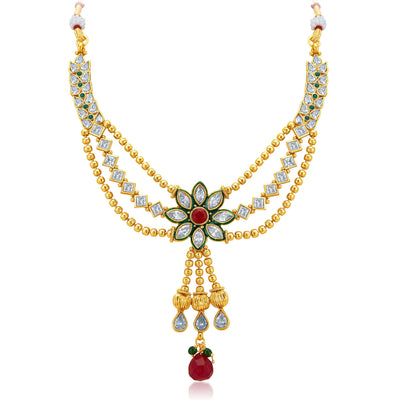 Sukkhi Appealing Three Strings Gold Plated AD Necklace Set-3