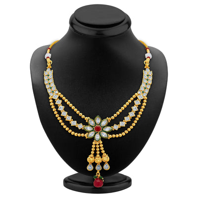 Sukkhi Appealing Three Strings Gold Plated AD Necklace Set-2