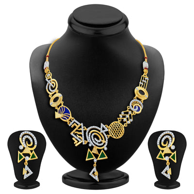 Sukkhi Resplendent Gold Plated Geometrical Shaped Necklace Set