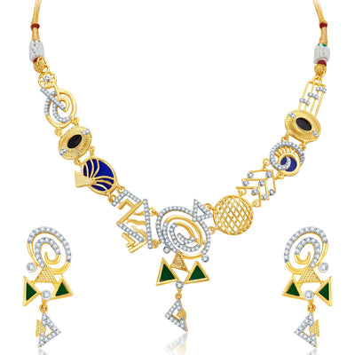 Sukkhi Resplendent Gold Plated Geometrical Shaped Necklace Set-1