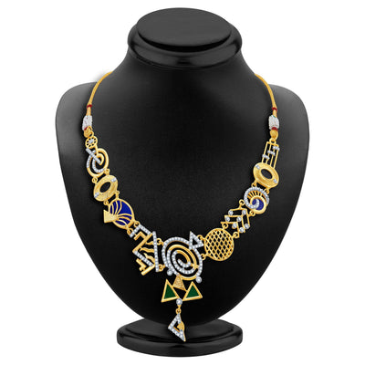 Sukkhi Resplendent Gold Plated Geometrical Shaped Necklace Set-2