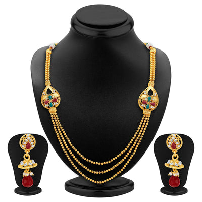 Sukkhi Exotic Three Strings Gold Plated Necklace Set