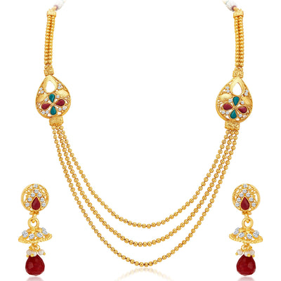 Sukkhi Exotic Three Strings Gold Plated Necklace Set-1