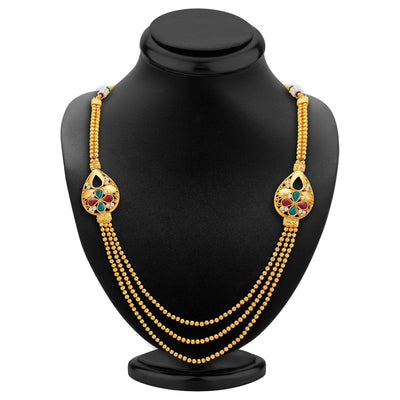 Sukkhi Exotic Three Strings Gold Plated Necklace Set-2