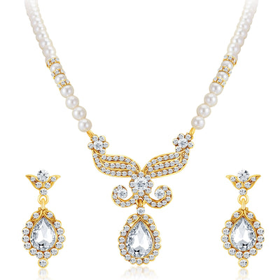 Sukkhi Artistically Gold Plated AD Necklace Set-1