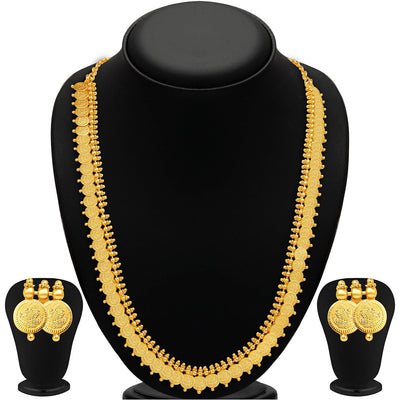 Sukkhi Royal Gold Plated Temple Jewellery Necklace Set