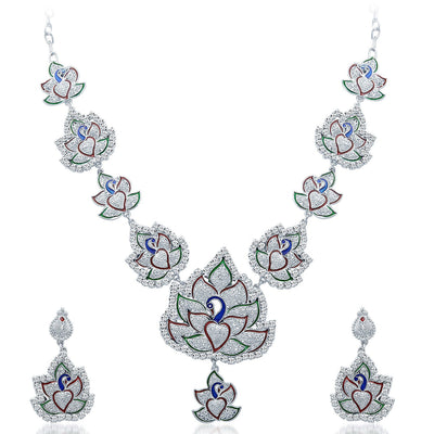 Sukkhi Fashionable Rhodium Plated AD Necklace Set-1