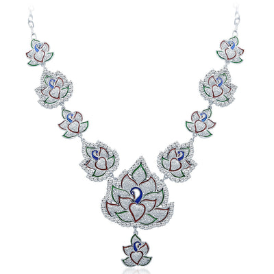 Sukkhi Fashionable Rhodium Plated AD Necklace Set-3