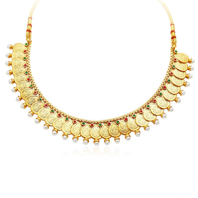 Sukkhi Magnificent Gold Plated Temple Jewellery Necklace Set-3