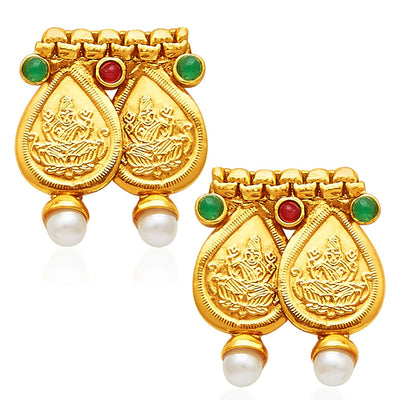 Sukkhi Magnificent Gold Plated Temple Jewellery Necklace Set-5
