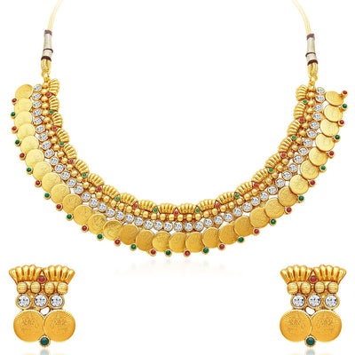 Sukkhi Pleasing Gold Plated Temple Jewellery Necklace Set-1