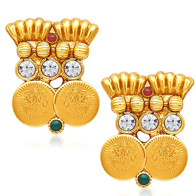 Sukkhi Pleasing Gold Plated Temple Jewellery Necklace Set-5