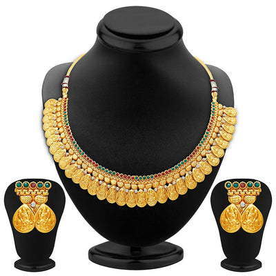 Sukkhi Sublime Gold Plated Temple Jewellery Necklace Set