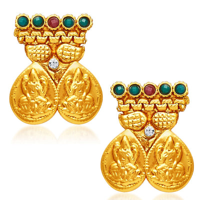 Sukkhi Sublime Gold Plated Temple Jewellery Necklace Set-5