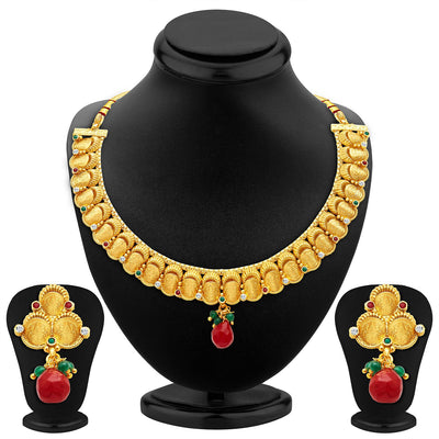 Sukkhi Stunning Gold Plated Temple Jewellery Necklace Set
