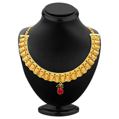 Sukkhi Stunning Gold Plated Temple Jewellery Necklace Set-2