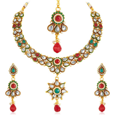 Sukkhi Antique Finish American Diamond Necklace Set-3