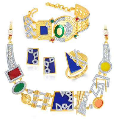 Sukkhi Neon Colour Gold Plated CZ Geometric Necklace Set-3