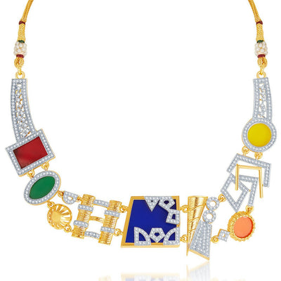 Sukkhi Neon Colour Gold Plated CZ Geometric Necklace Set-7