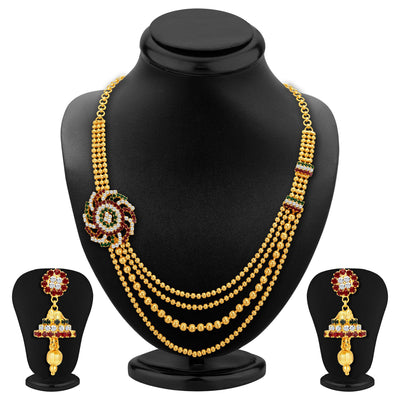 Sukkhi Excellent Four Strings Gold Plated Necklace Set