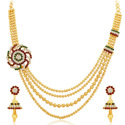 Sukkhi Excellent Four Strings Gold Plated Necklace Set-1