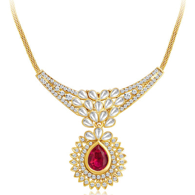 Sukkhi Attractive Gold Plated AD Necklace Set with Set of 5 Changeable Stone-3
