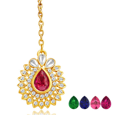 Sukkhi Attractive Gold Plated AD Necklace Set with Set of 5 Changeable Stone-7