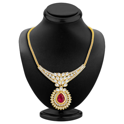 Sukkhi Attractive Gold Plated AD Necklace Set with Set of 5 Changeable Stone-2
