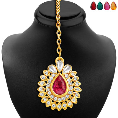 Sukkhi Attractive Gold Plated AD Necklace Set with Set of 5 Changeable Stone-6