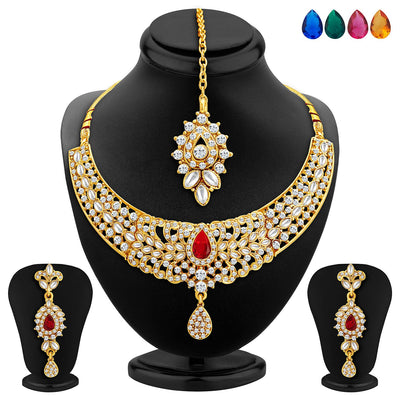 Sukkhi Modish Gold Plated AD Necklace Set with Set of 5 Changeable Stone