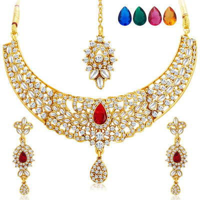 Sukkhi Modish Gold Plated AD Necklace Set with Set of 5 Changeable Stone-1