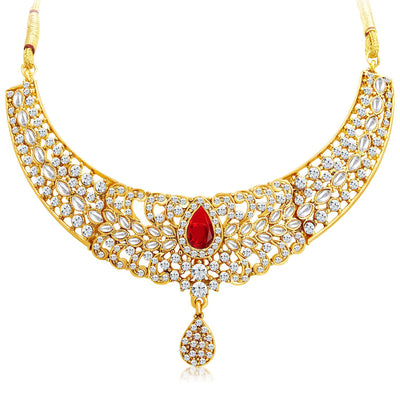 Sukkhi Modish Gold Plated AD Necklace Set with Set of 5 Changeable Stone-3