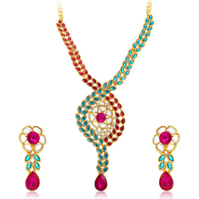 Sukkhi Charming Gold Plated AD Necklace Set For Women-1