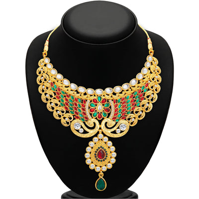 Sukkhi Splendid Gold Plated AD Necklace Set For Women-2