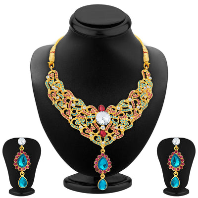 Sukkhi Fine Gold Plated AD Necklace Set For Women