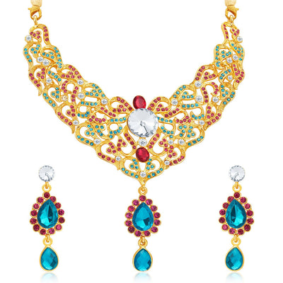 Sukkhi Fine Gold Plated AD Necklace Set For Women-1