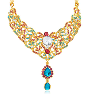 Sukkhi Fine Gold Plated AD Necklace Set For Women-4
