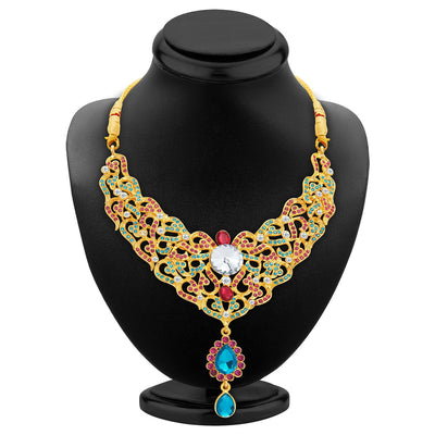 Sukkhi Fine Gold Plated AD Necklace Set For Women-2
