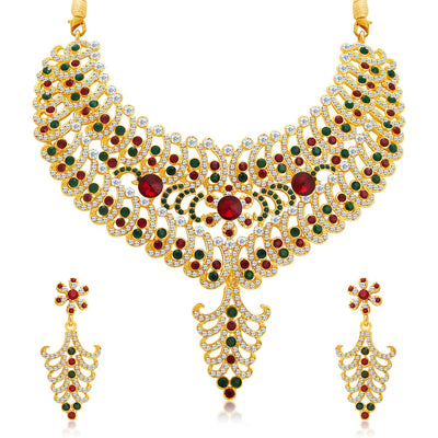 Sukkhi Resplendent Gold Plated AD Necklace Set For Women-1
