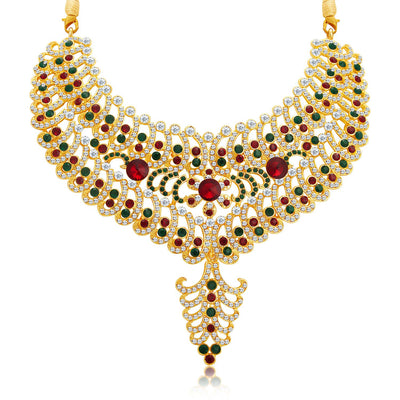 Sukkhi Resplendent Gold Plated AD Necklace Set For Women-4
