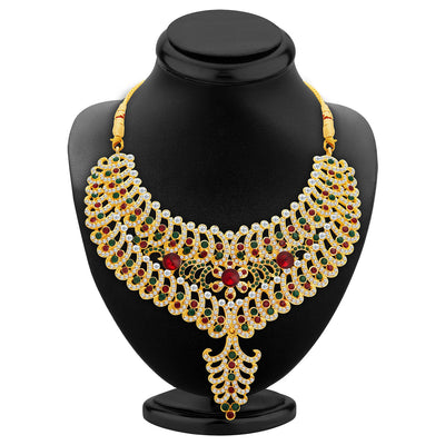 Sukkhi Resplendent Gold Plated AD Necklace Set For Women-2