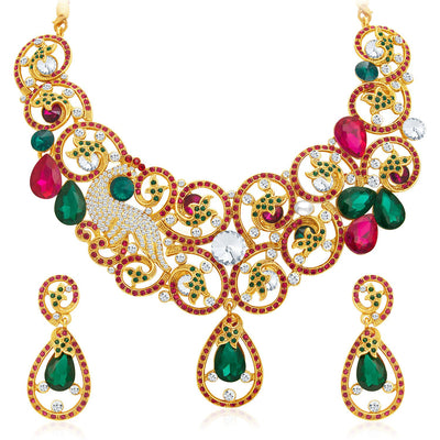 Sukkhi Trendy Gold Plated AD Necklace Set For Women-1