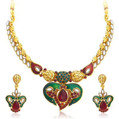 Sukkhi Attractive Gold Plated Kundan Necklace Set For Women-1