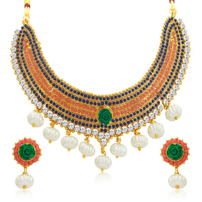 Sukkhi Classy Gold Plated Kundan Necklace Set For Women-1