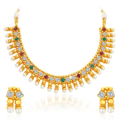 Sukkhi Astonishing Gold Plated Kundan Necklace Set For Women-1