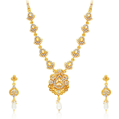 Sukkhi Sparkling Gold Plated AD Set of 2 Necklace Set Combo For Women-3