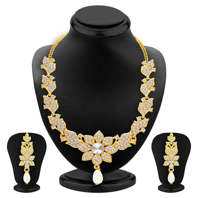 Sukkhi Sparkling Gold Plated AD Set of 2 Necklace Set Combo For Women-4